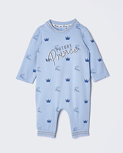 Baby blue crown print romper