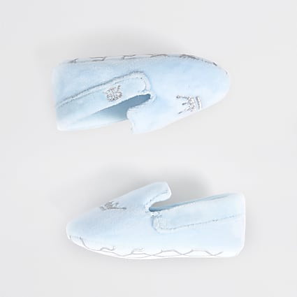 Baby blue crown slip on slipper