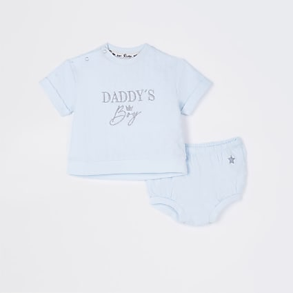Baby blue 'Daddy's boy' bloomer outfit