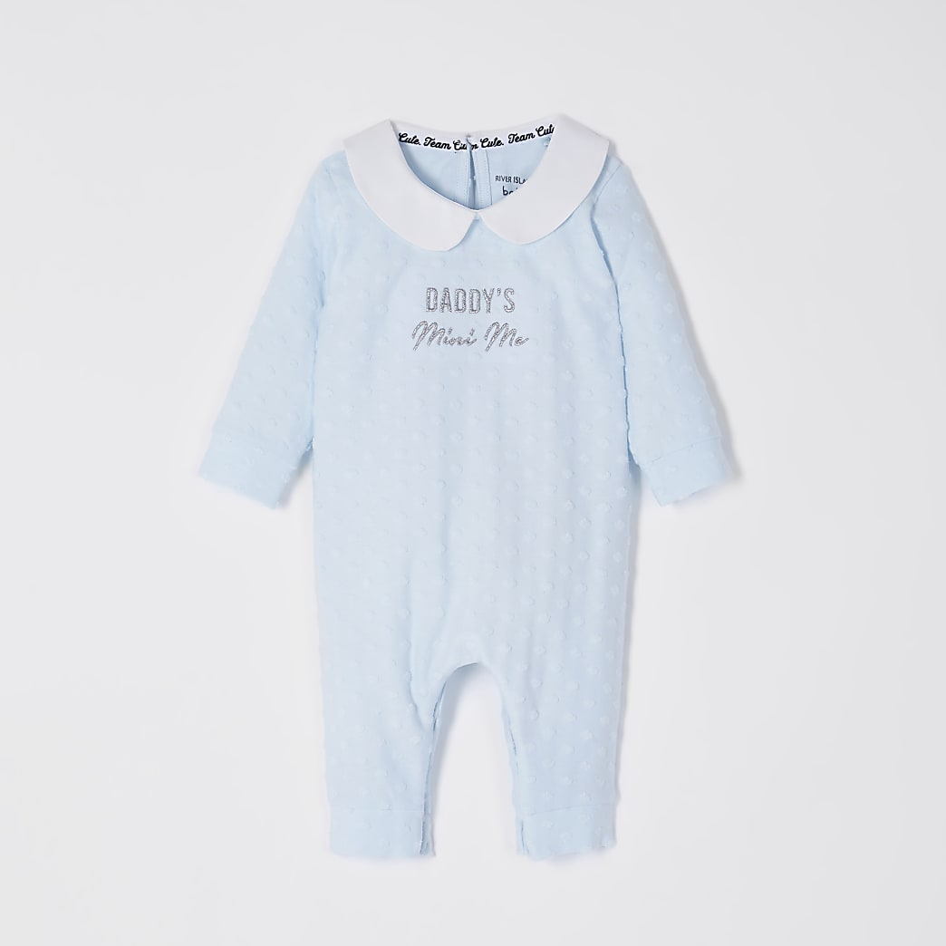 Baby blue 'Daddy's mini me' baby grow