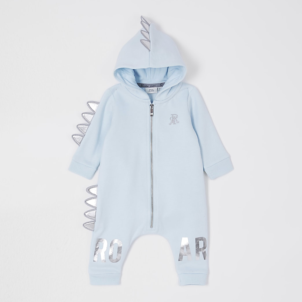 Baby blue dinosaur all in one