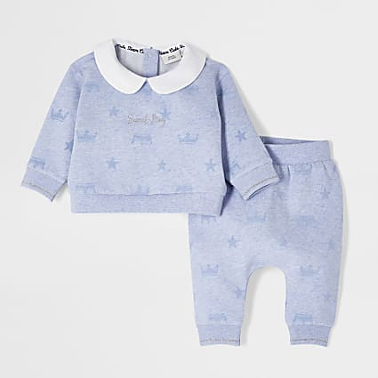 Baby blue flock collar print outfit
