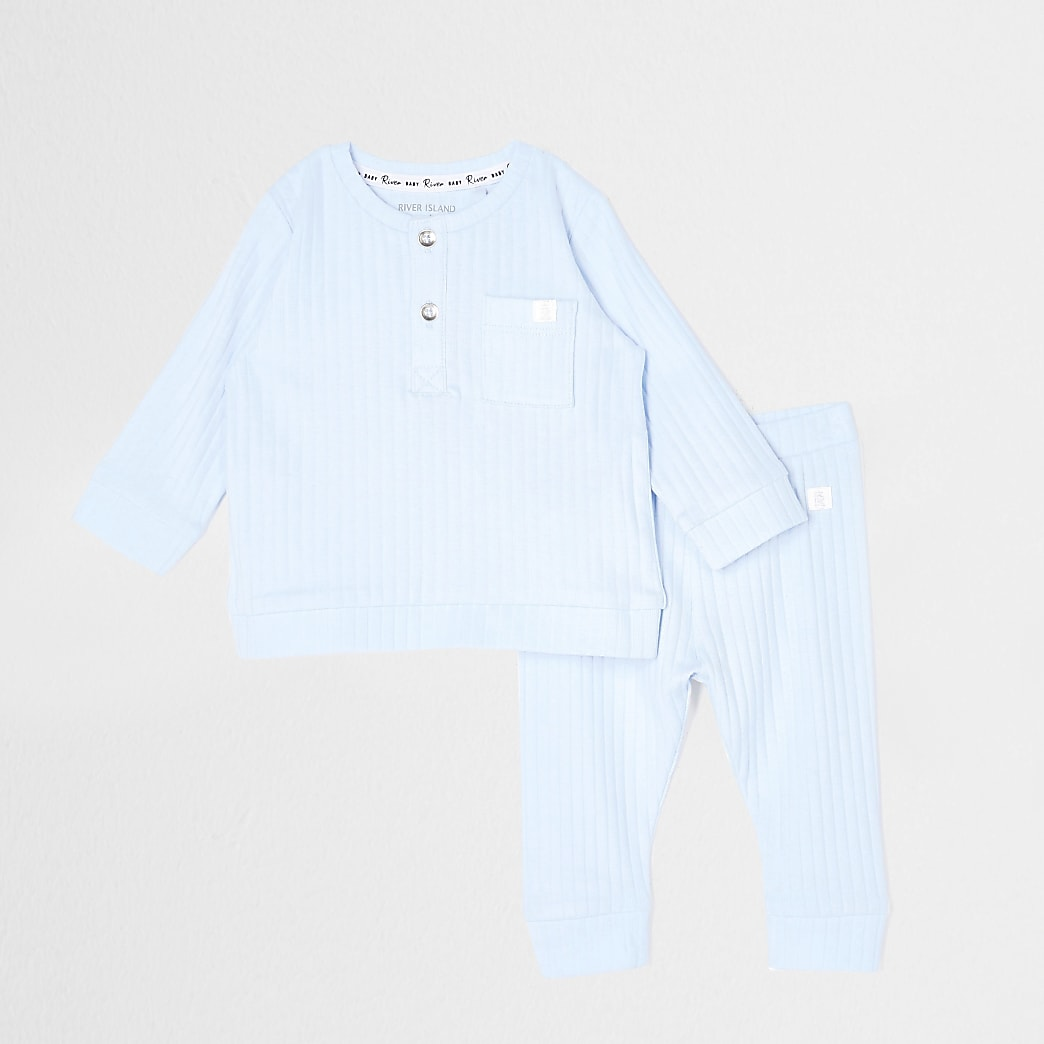 Baby blue grandad neck ribbed legging outfit