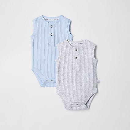 Baby blue grandad ribbed baby grow 2 pack