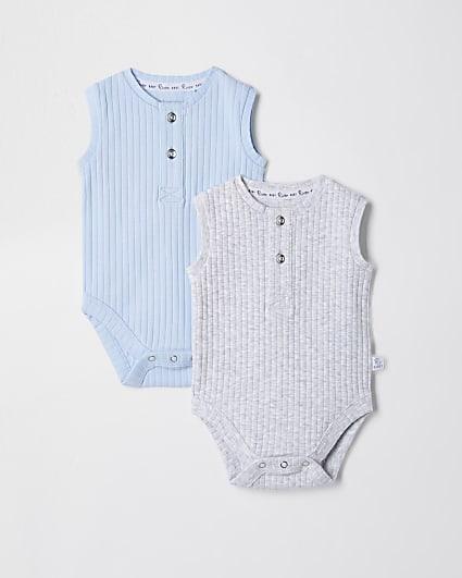 Baby blue grandad ribbed baby grow 2 pack