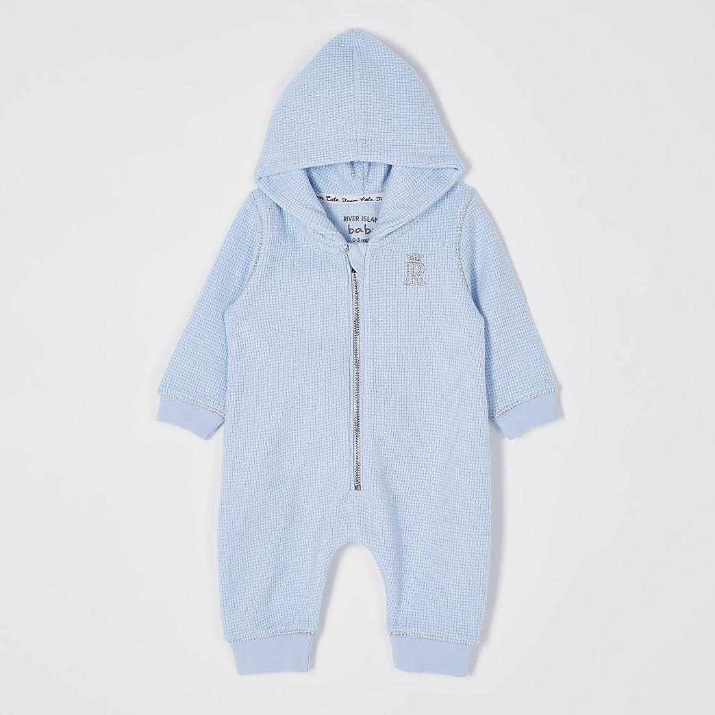 Baby blue hooded all in one