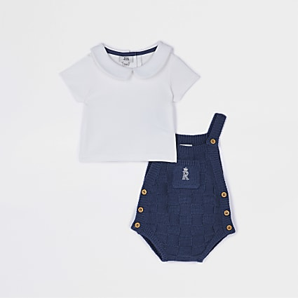 Baby blue knit dungaree babygrow set