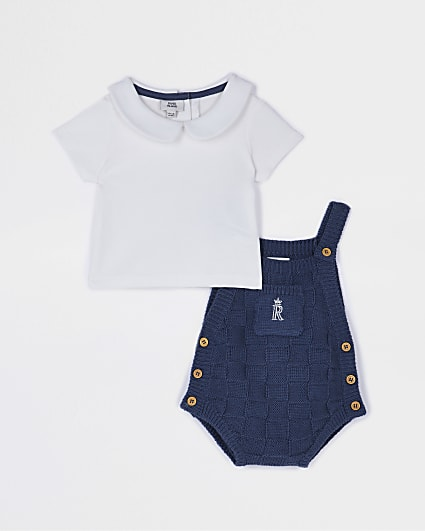 Baby blue knit dungaree babygrow set