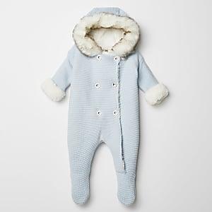 Blauer, einteiliger Strickanzug für Babys mit Kunstfellkapuze