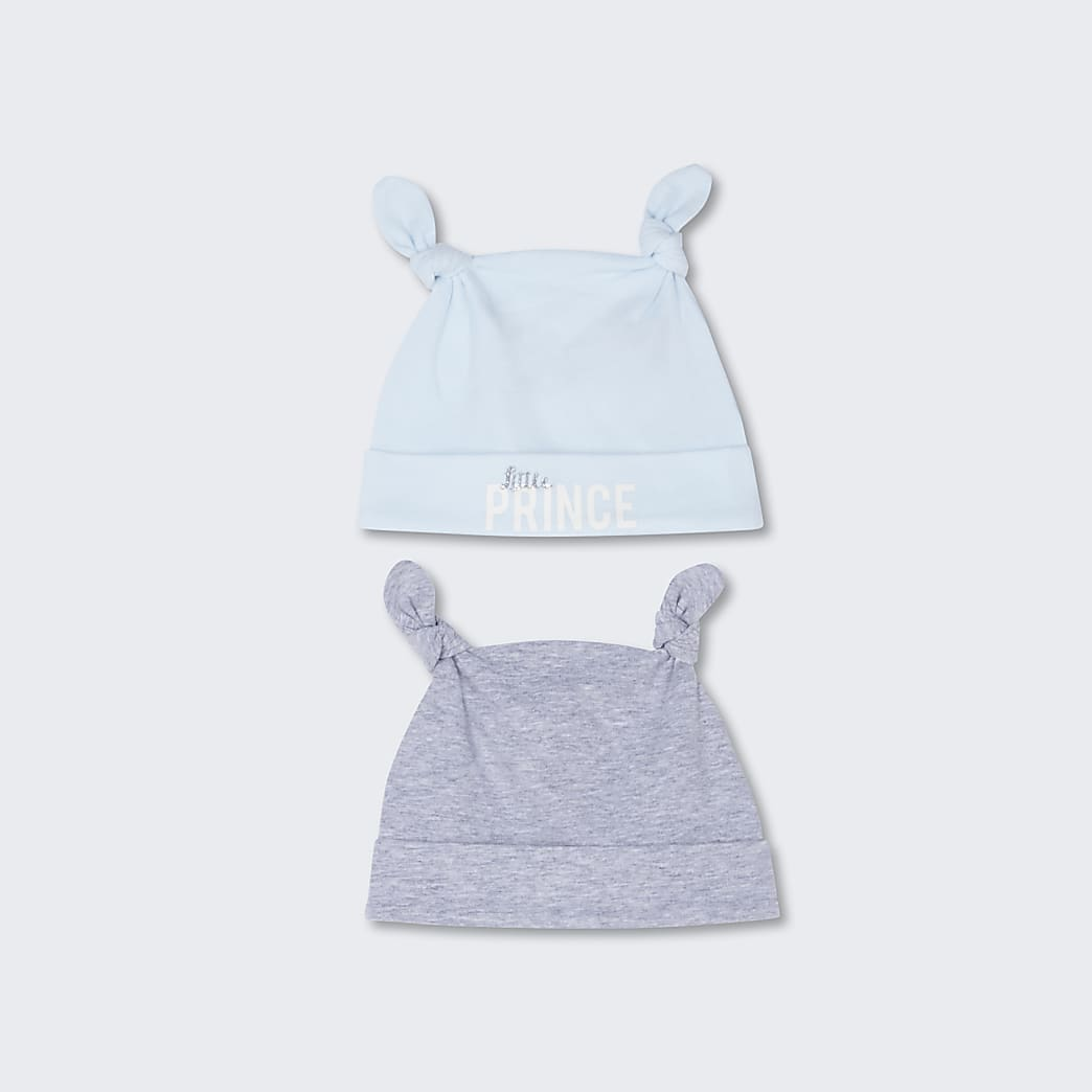 Baby blue 'Liitle prince' hats 2 pack