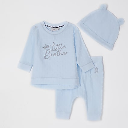Baby blue 'little brother' hat set
