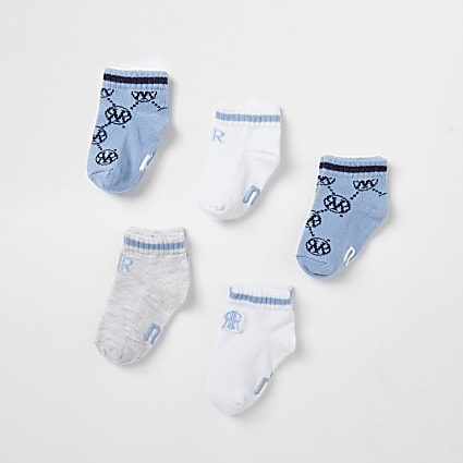 Baby blue monogram socks 5 pack
