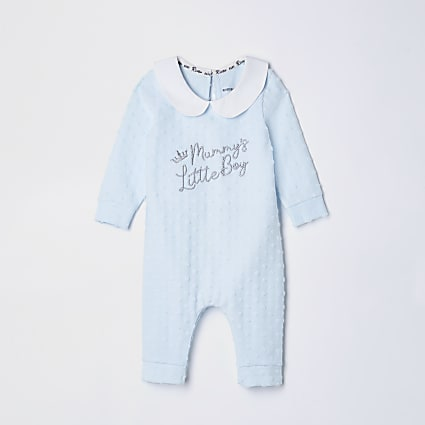 Baby blue 'Mummy's little boy' baby grow
