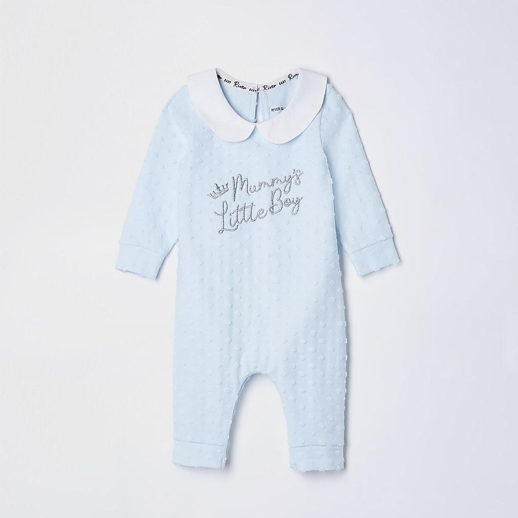Baby blue 'Mummy's little boy' baby grow