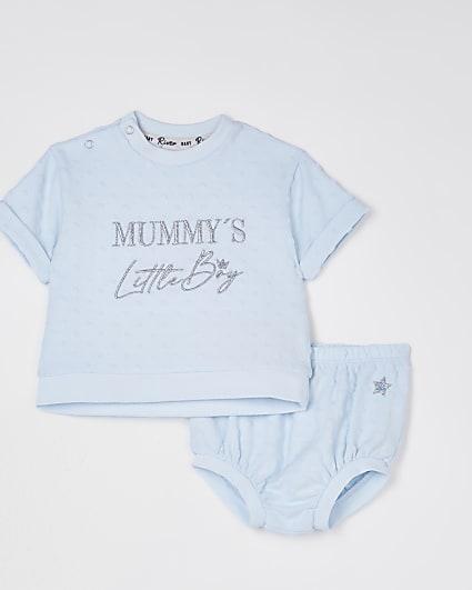 Baby blue 'Mummy's Little Boy' bloomer set