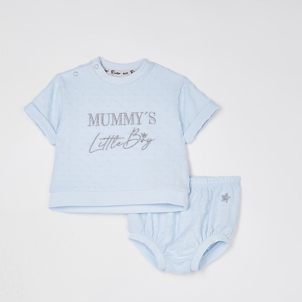 Baby blue 'Mummy's Little Boy' bloomer set