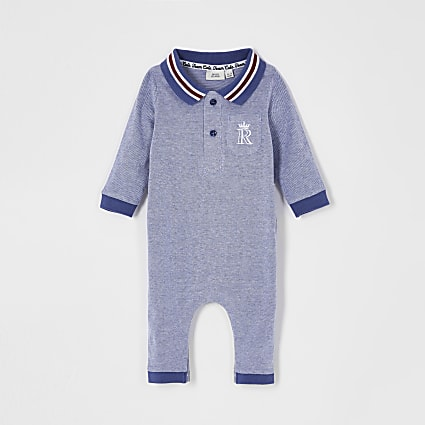 Baby blue polo baby grow