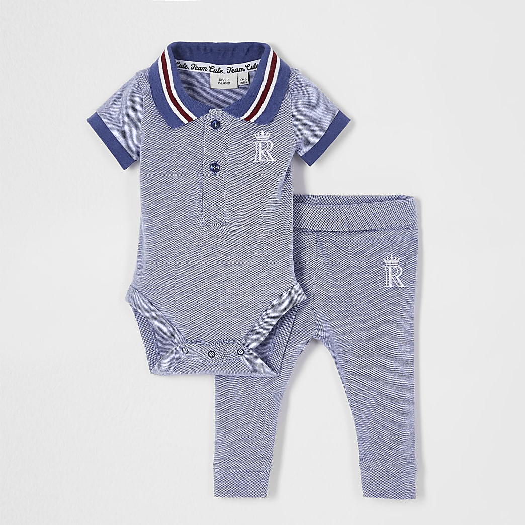 Baby blue polo bodysuit outfit