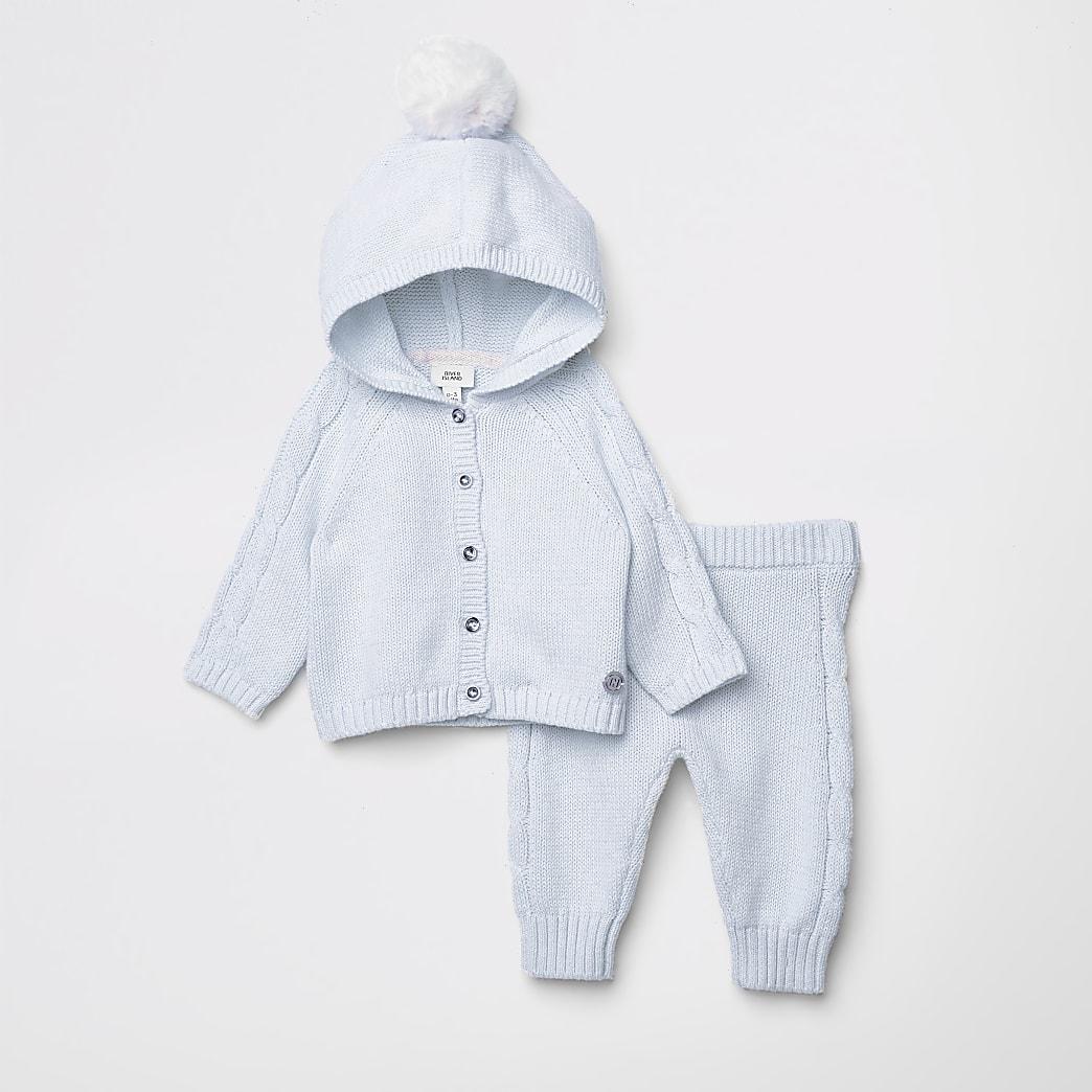 Outfit met blauw gebreid vest met pompon voor baby's
