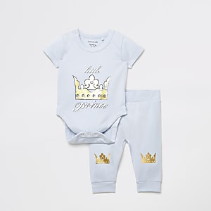 Baby blue printed body suit and legging set