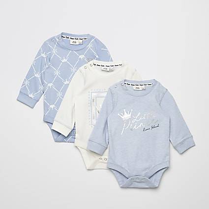 Baby blue printed bodysuit 3 pack