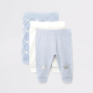 Blauwe leggings met print voor baby's set van 3