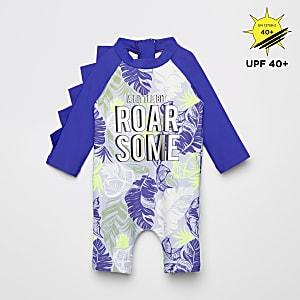 Blauw alles-in-een zwempak met print en zonbescherming voor baby's