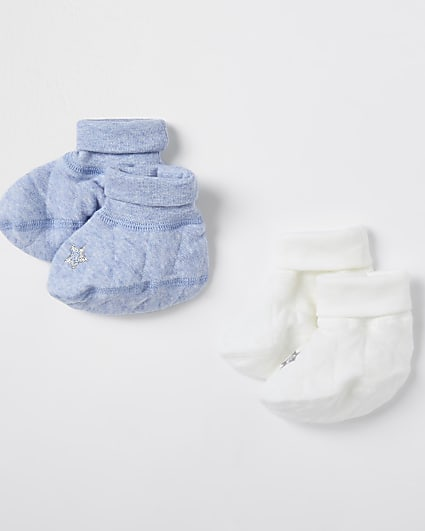 Baby blue quilted booties 2 pack