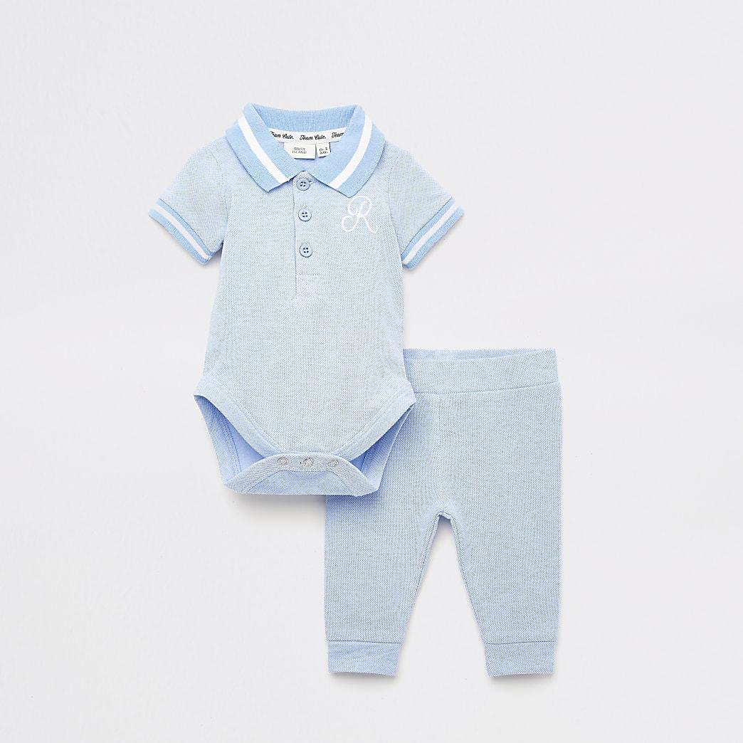 Blauwe bodysuit en legging set met R-print voor baby's
