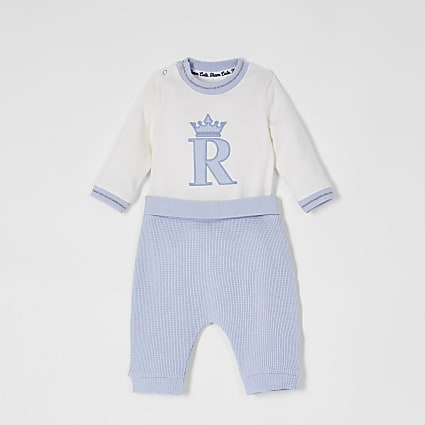 Baby blue 'R' crown embroidered waffle outfit