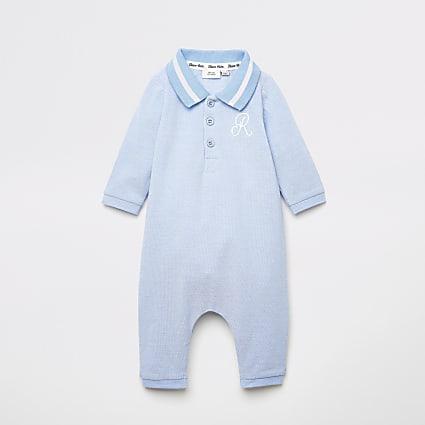Baby blue R polo collar baby grow