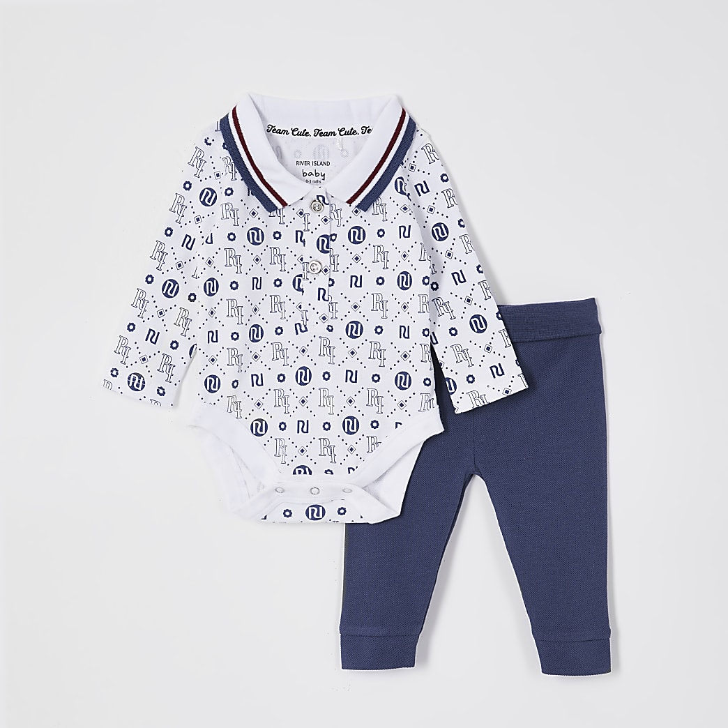 Baby blue RI logo printed outfit