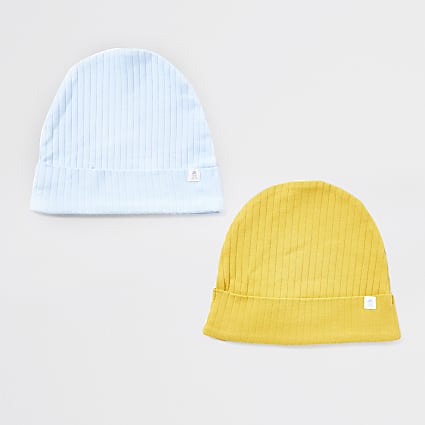 Baby blue ribbed beanie hat 2 pack