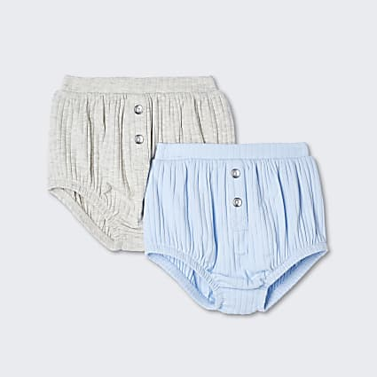 Baby blue ribbed bloomers 2 pack