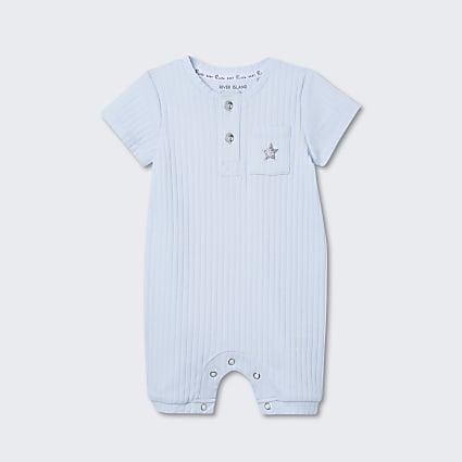 Baby blue ribbed collared romper