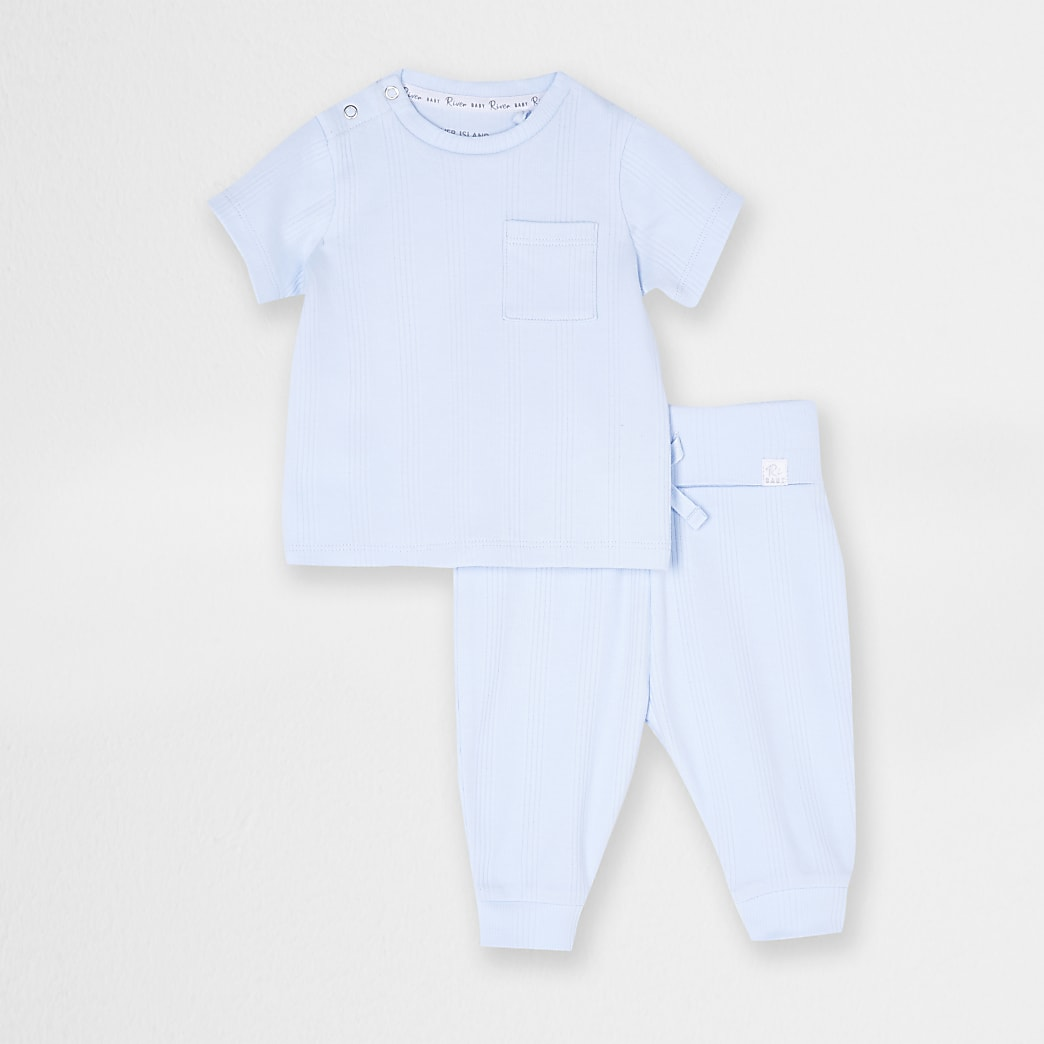 Baby blue ribbed t-shirt and jogger outfit
