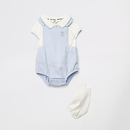 Baby blue romper and socks outfit