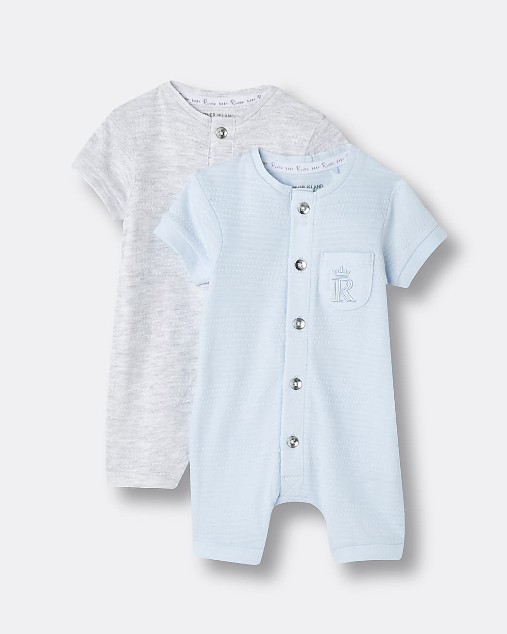 Baby blue rompers 2 pack