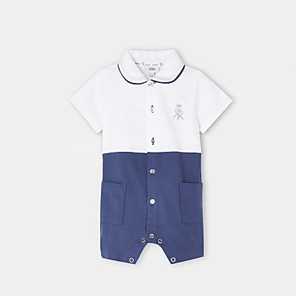 Baby blue RR colour block shirt romper