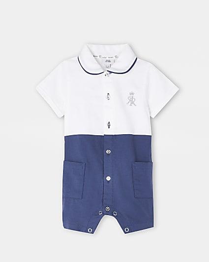 Baby blue RR colour block shirt romper