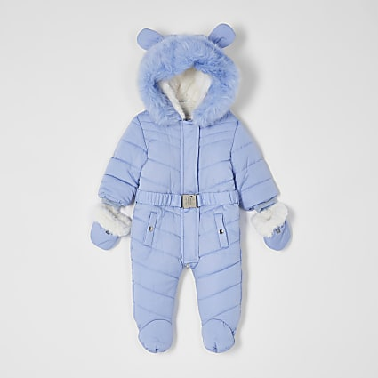 Baby blue snowsuit with ears