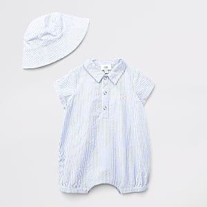 Tenue polo bleue à rayures pour bébé