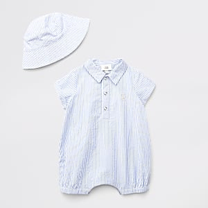 Blauwe gestreepte polo-romper-outfit voor baby's