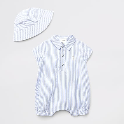 Baby blue stripe polo baby grow outfit