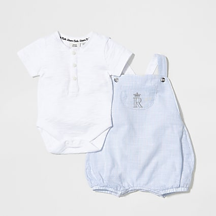 Baby blue stripe romper and t-shirt outfit