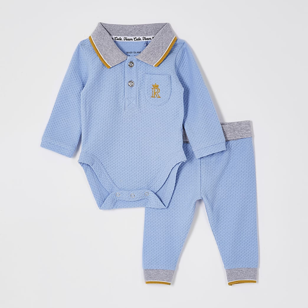 Baby blue textured polo bodysuit outfit