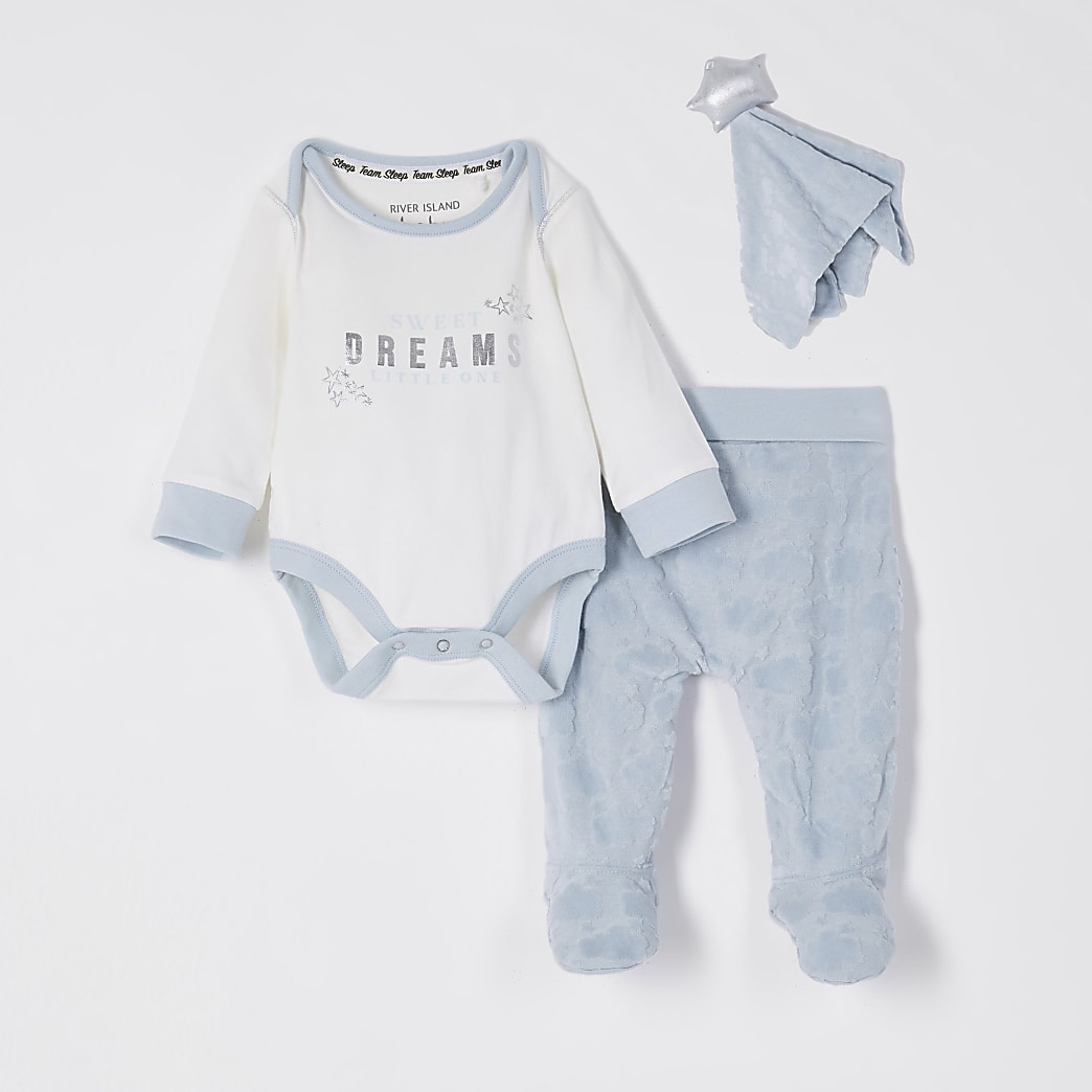 Baby blue velour cloud baby grow toy set