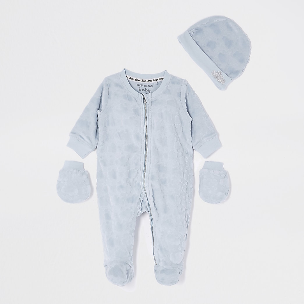 Baby blue velour cloud sleepsuit set