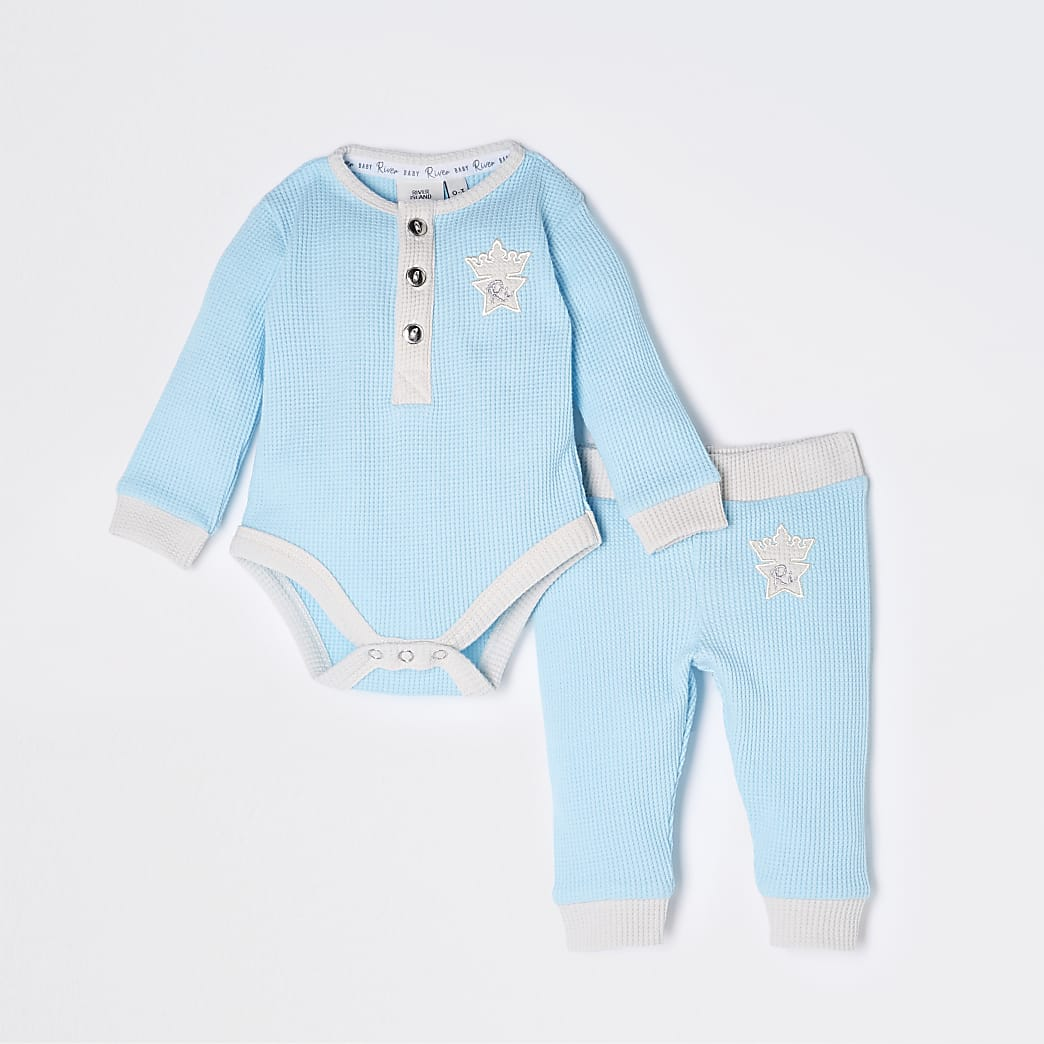 Baby blue waffle baby grow outfit