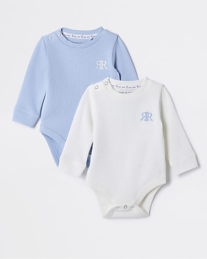 Baby blue waffle baby grows 2 pack